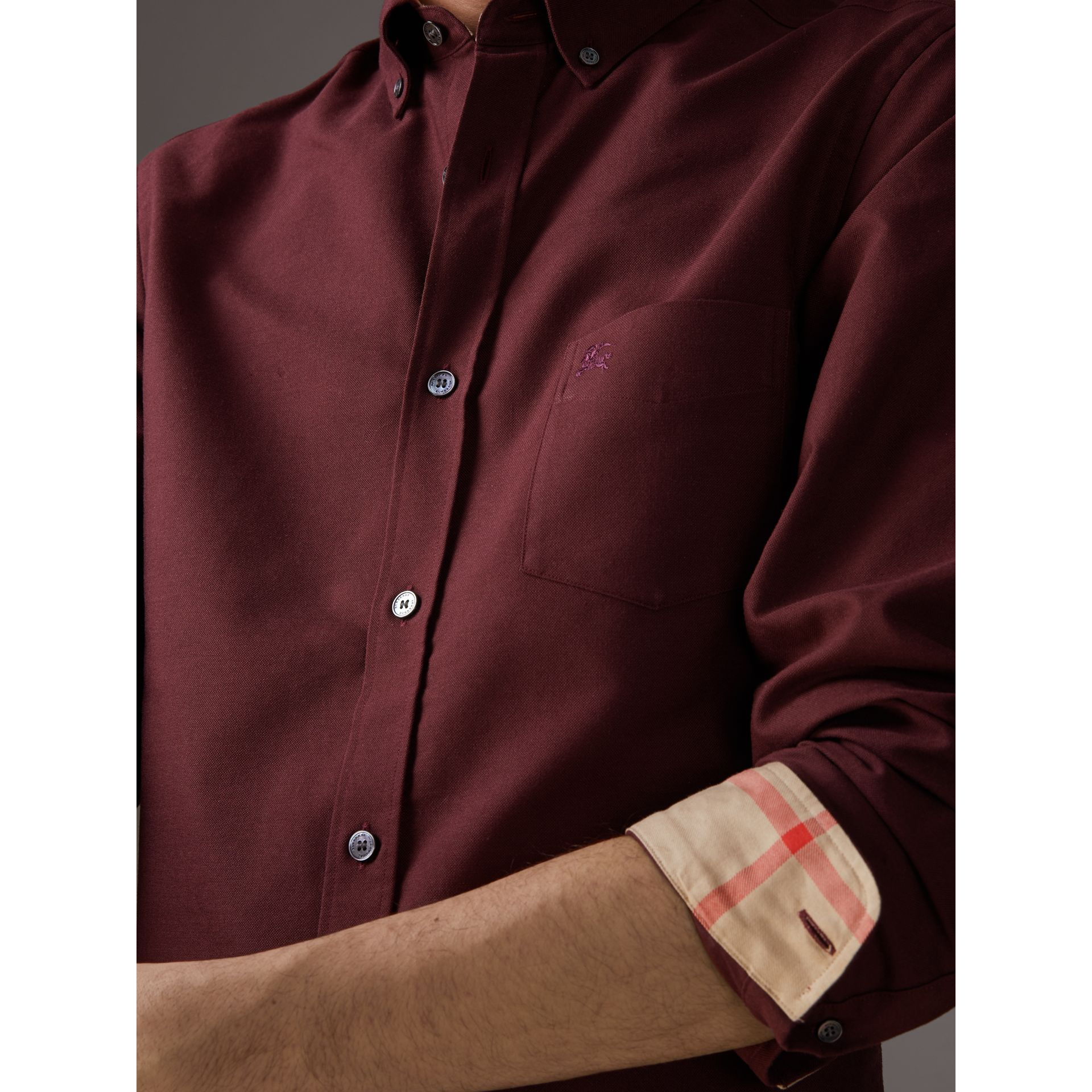 Check Detail Cotton Oxford Shirt in Oxblood - Men | Burberry - gallery image 1