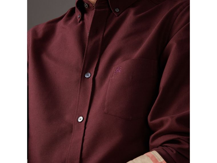 Check Detail Cotton Oxford Shirt in Oxblood - Men | Burberry - cell image 1