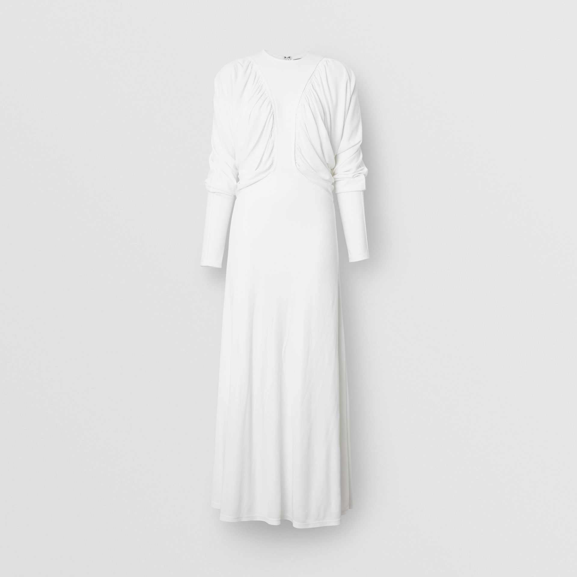 Ruched Panel Jersey Gown in White - Women | Burberry - gallery image 3