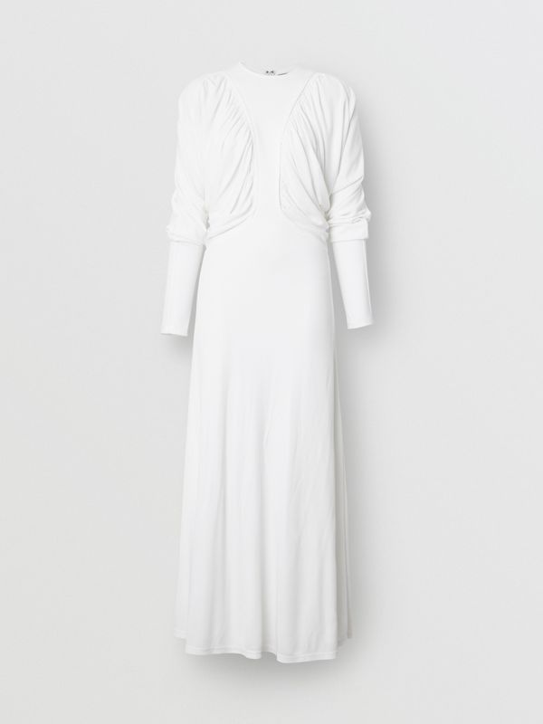 Ruched Panel Jersey Gown in White - Women | Burberry - cell image 3