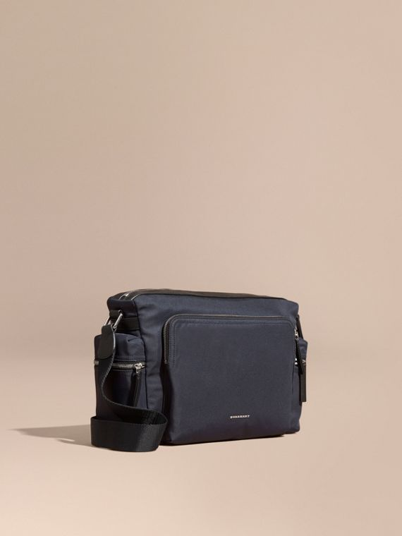 Leather Trim Messenger Bag Dark Navy