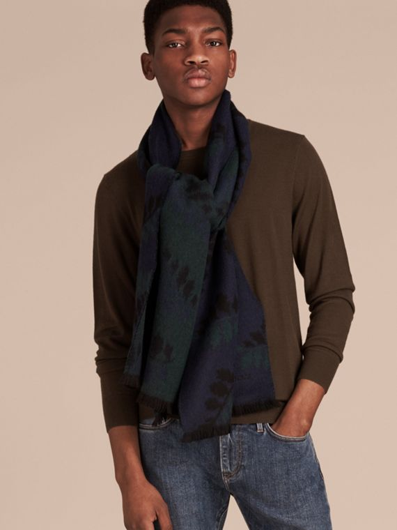 Navy Leaf Jacquard Cashmere Scarf Navy - cell image 2