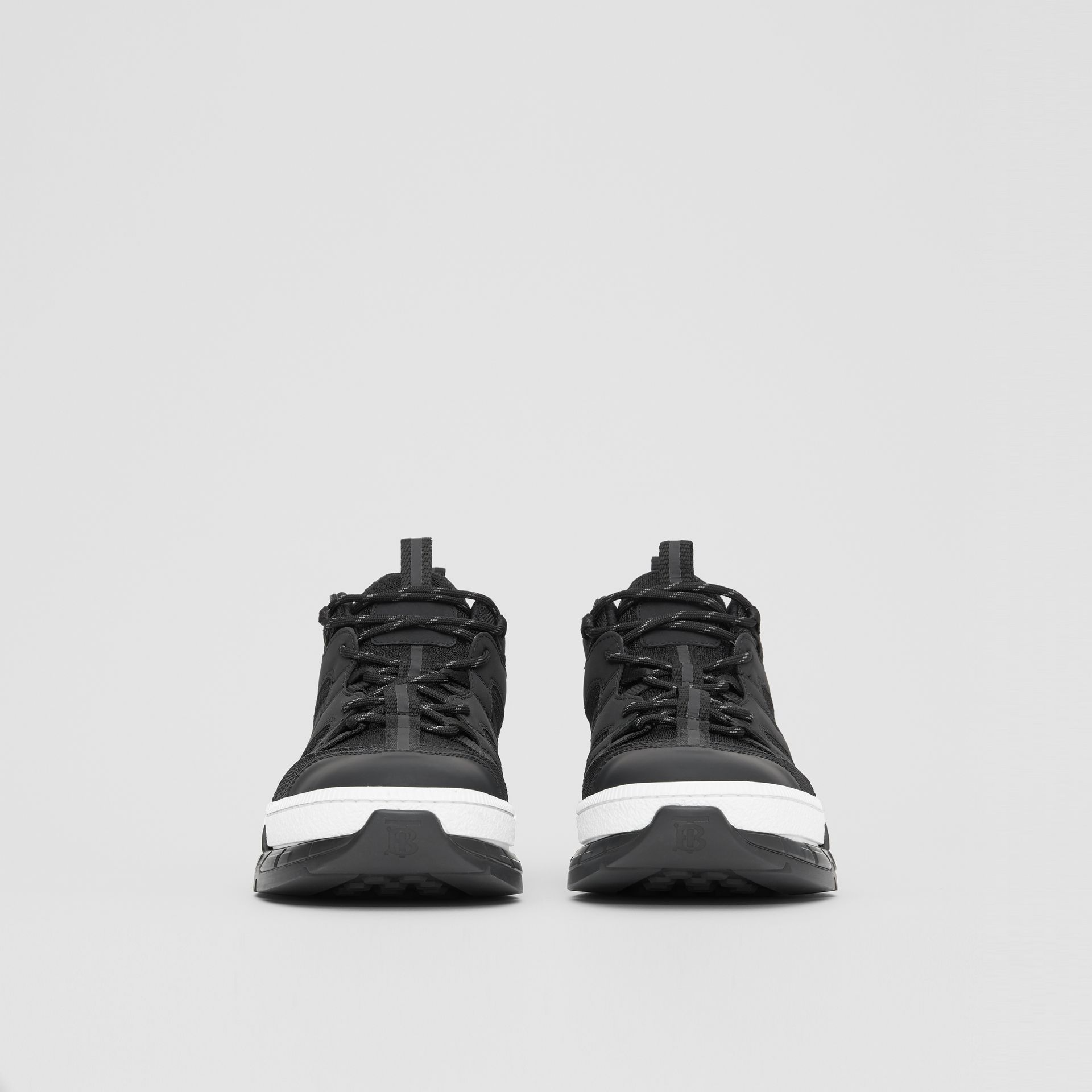 Monogram Motif Mesh and Nubuck Sneakers in Black - Men | Burberry United Kingdom - gallery image 2