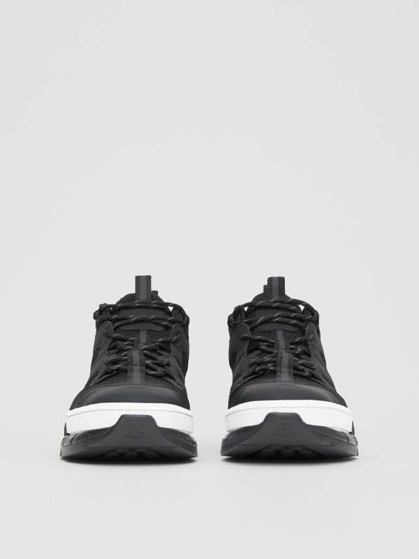 Monogram Motif Mesh and Nubuck Sneakers in Black - Men | Burberry - cell image 2
