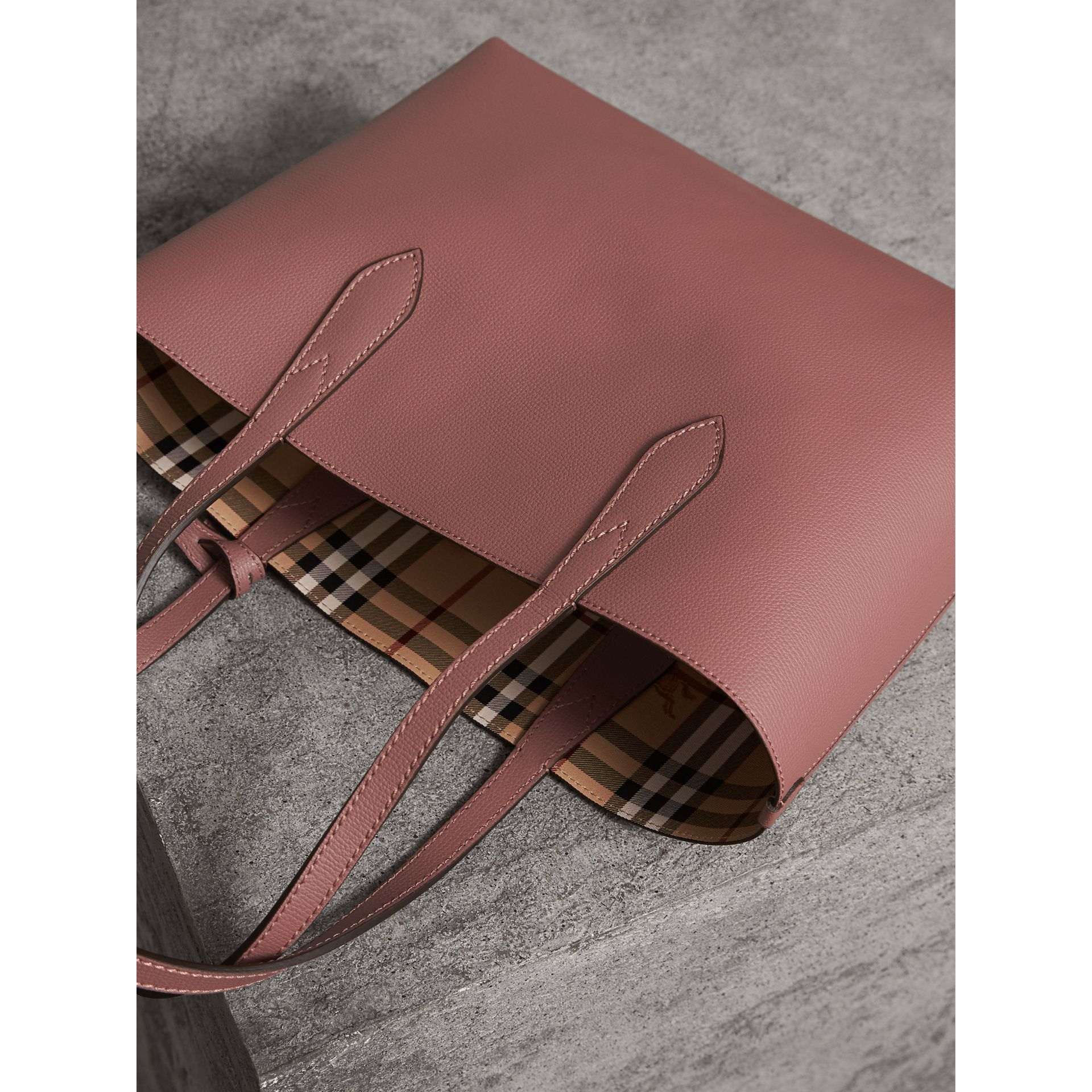 The Small Reversible Tote in Haymarket Check and Leather in Light Elderberry - Women | Burberry United Kingdom - gallery image 4