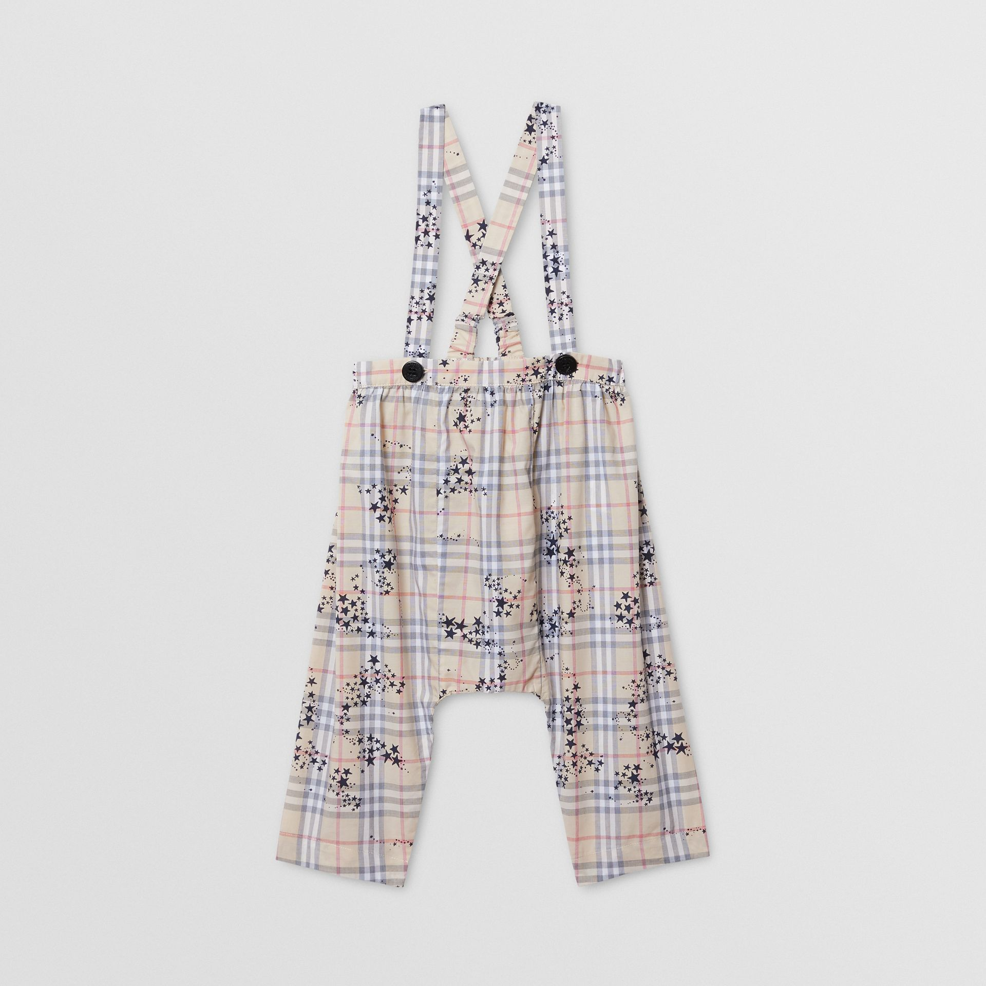 Star Print Check Cotton Two-piece Baby Gift Set in Bright Navy - Children | Burberry - gallery image 3