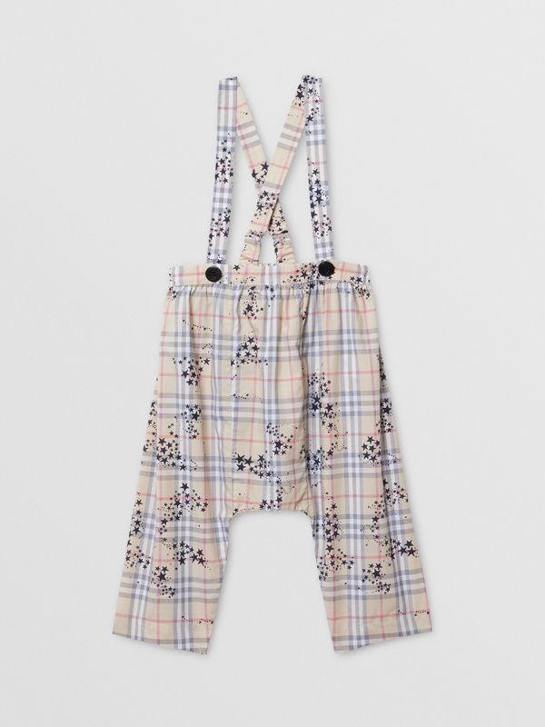 Star Print Check Cotton Two-piece Baby Gift Set in Bright Navy - Children | Burberry - cell image 3