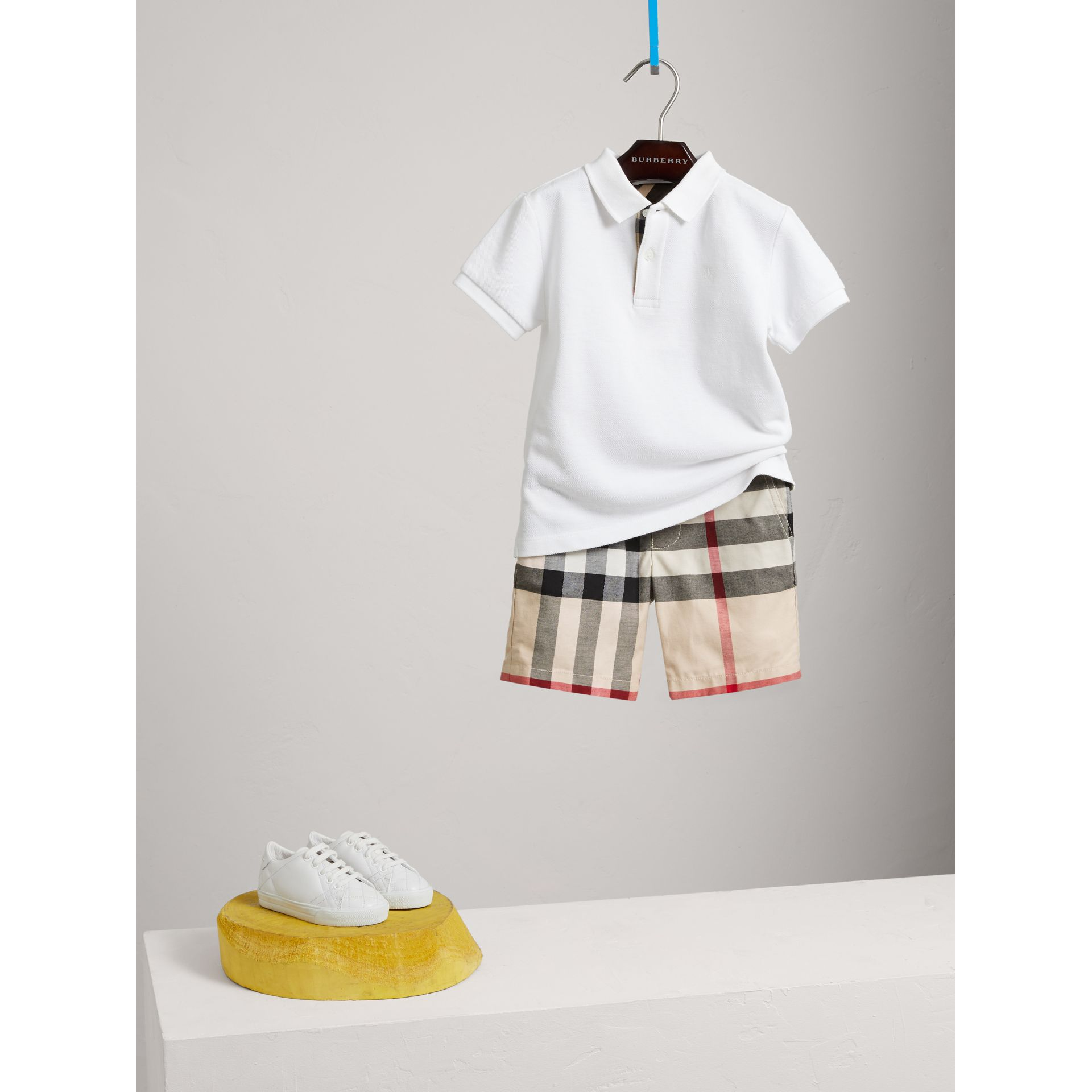 Check Cotton Chino Shorts in Stone - Boy | Burberry - gallery image 0