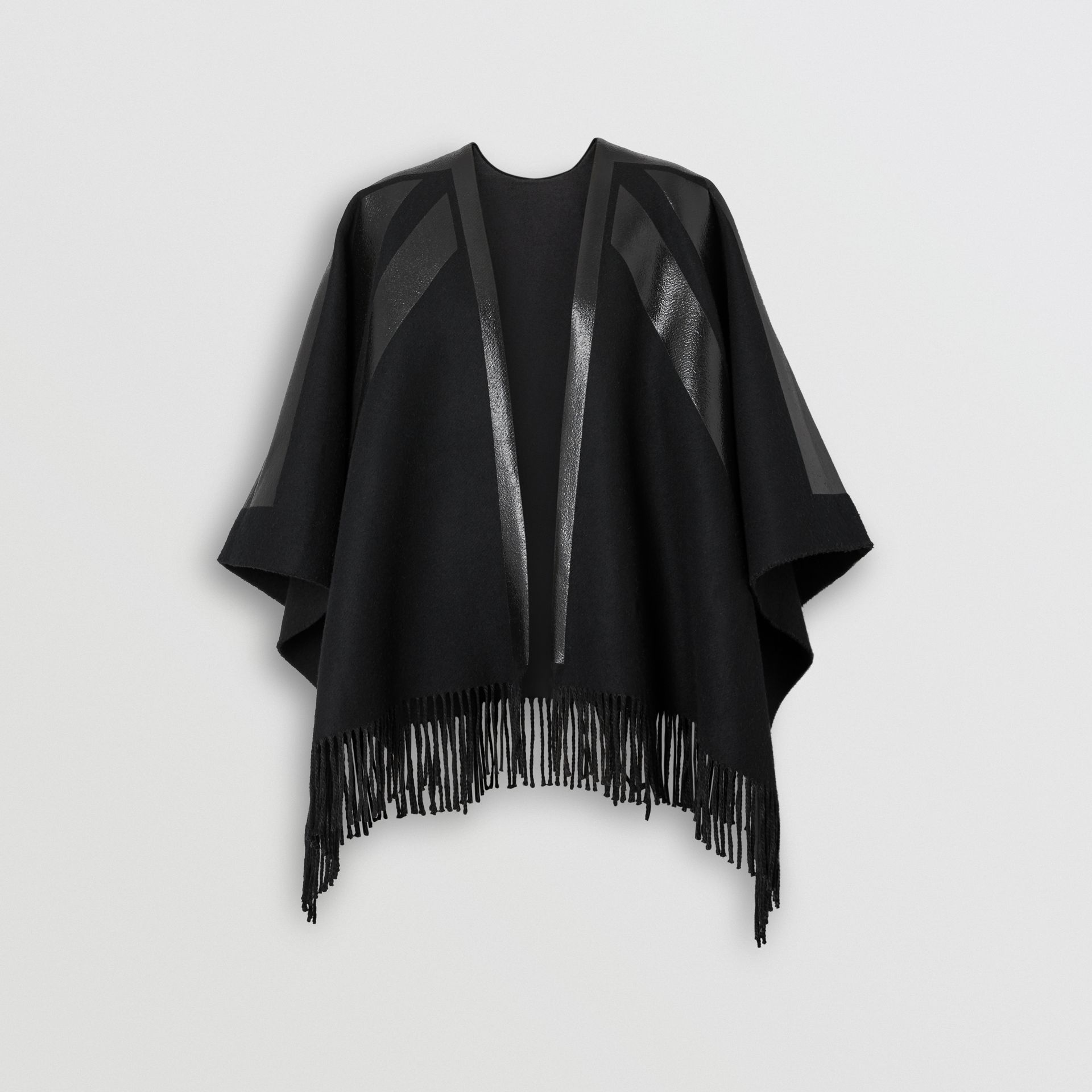 Union Jack Print Wool Cashmere Cape in Black - Women | Burberry - gallery image 3