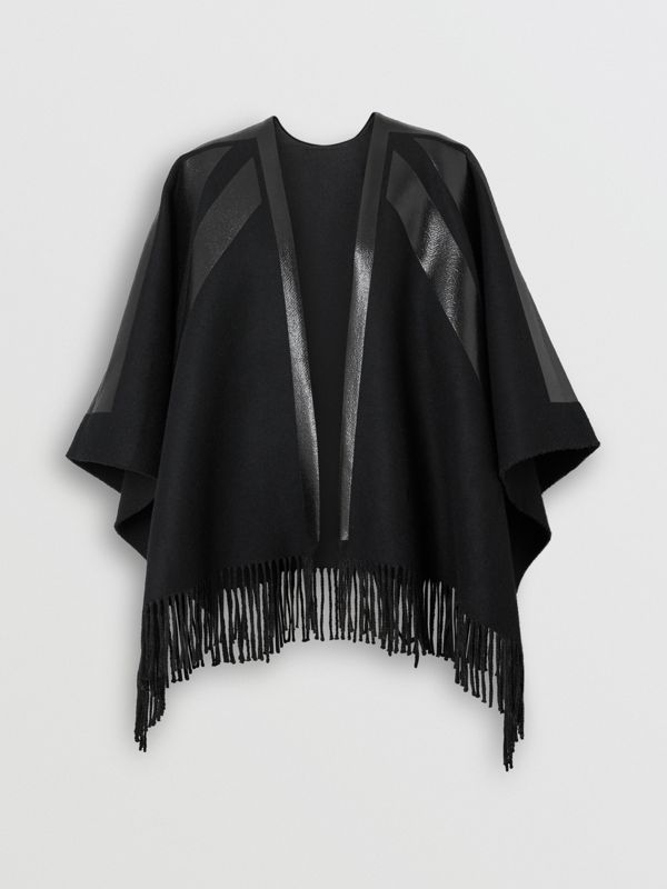 Union Jack Print Wool Cashmere Cape in Black - Women | Burberry - cell image 3