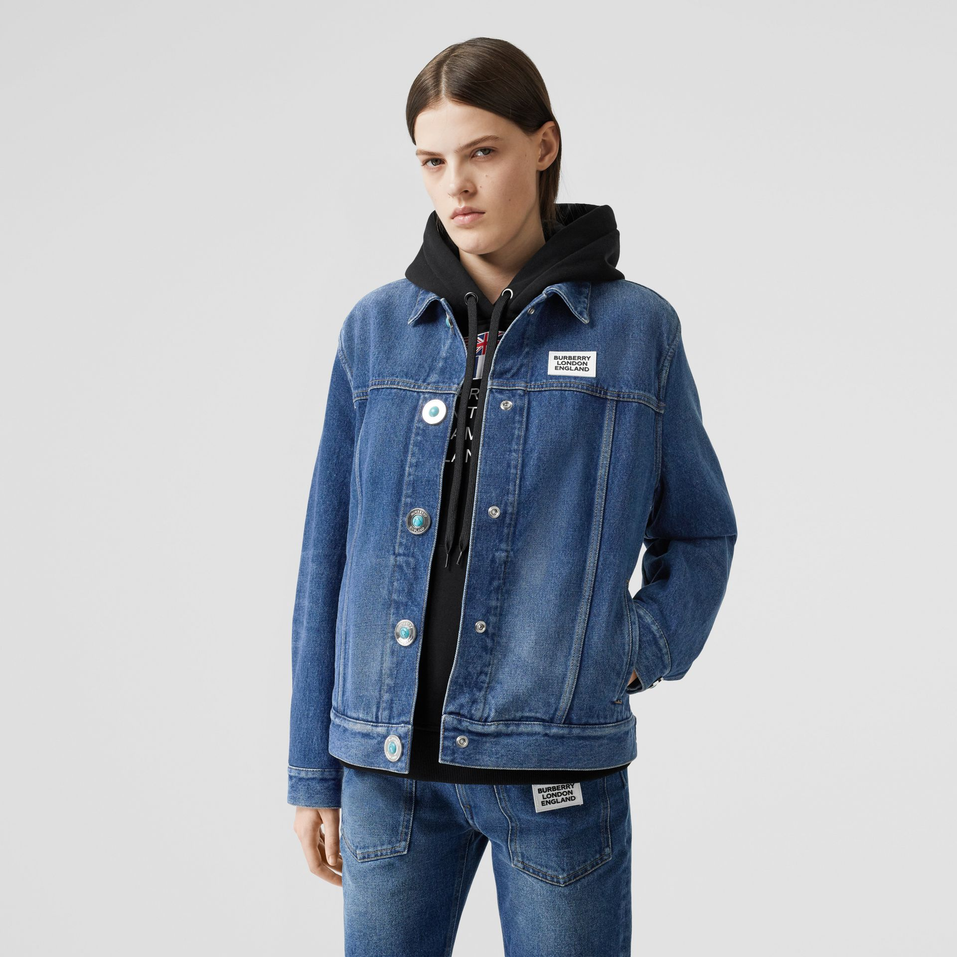 Logo Appliqué Reconstructed Denim Jacket in Indigo - Women | Burberry Singapore - gallery image 5