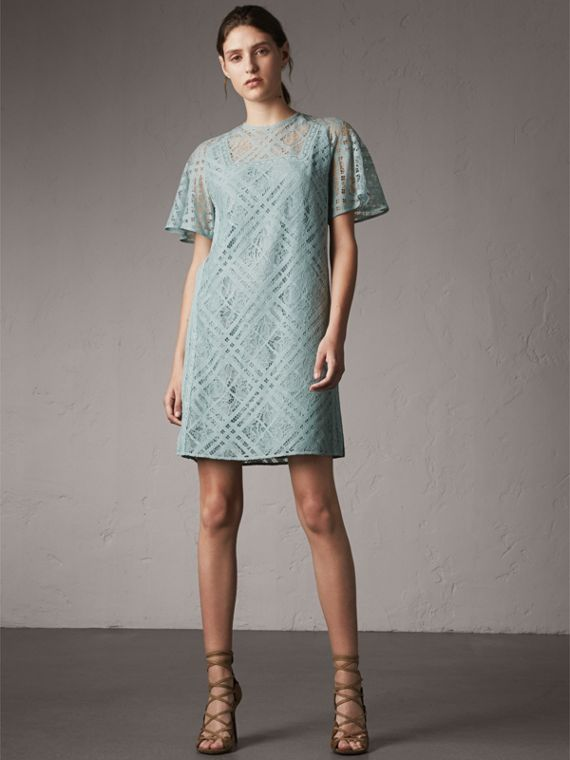 Flare-sleeve Check Lace Shift Dress - Women | Burberry