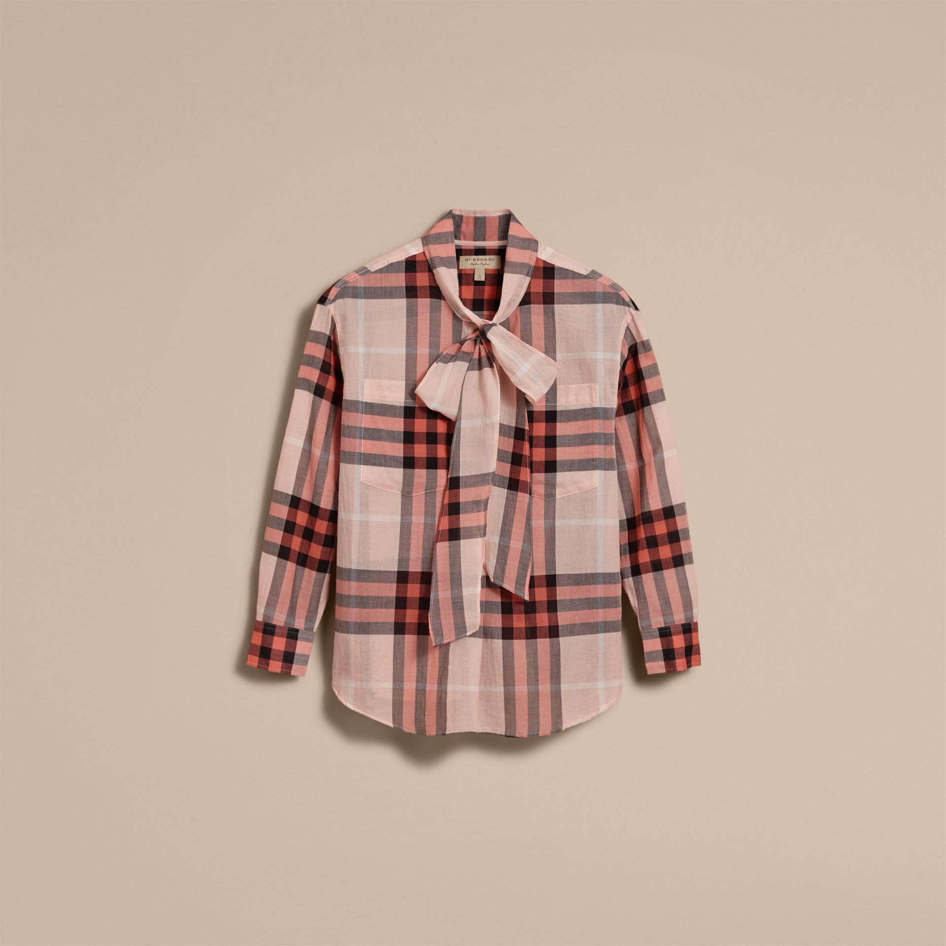 Check Tie Neck Cotton Shirt in Apricot - Women | Burberry Singapore - gallery image 4
