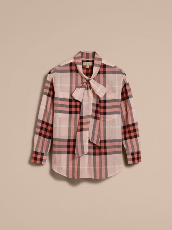 Check Tie Neck Cotton Shirt in Apricot - cell image 3
