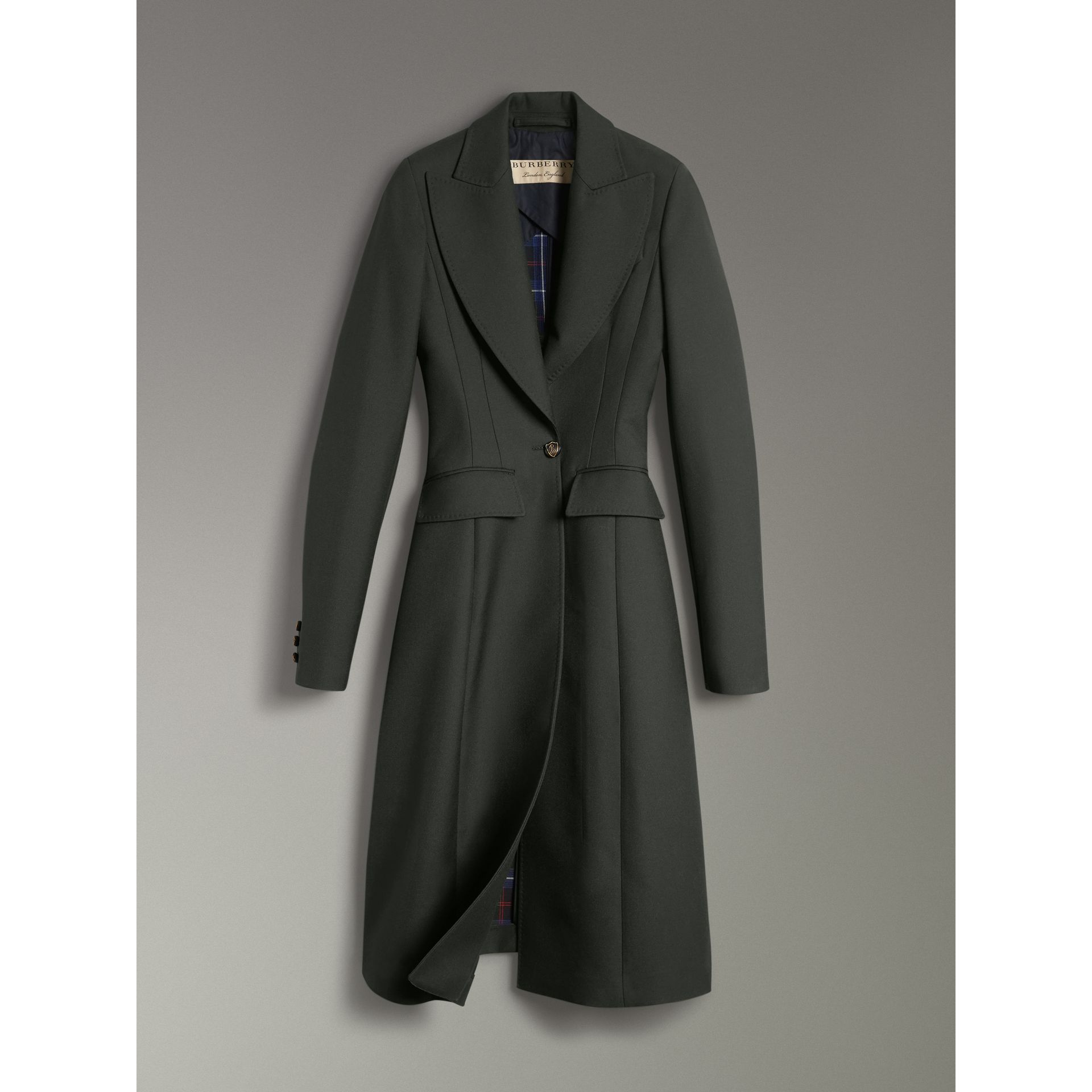 Crested Button Wool Tailored Coat in Racing Green/bright Navy - Women | Burberry United Kingdom - gallery image 3