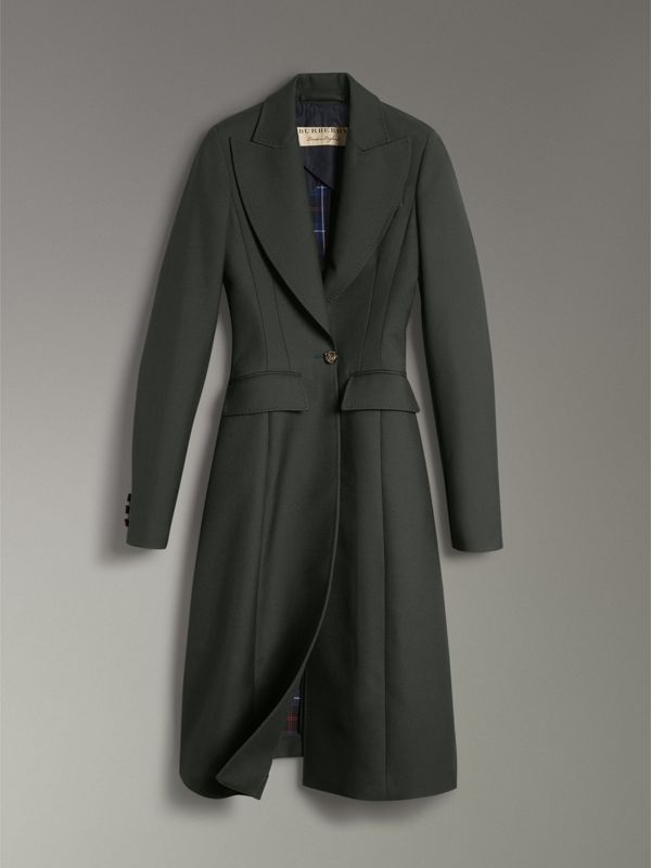 Crested Button Wool Tailored Coat in Racing Green/bright Navy - Women | Burberry - cell image 3