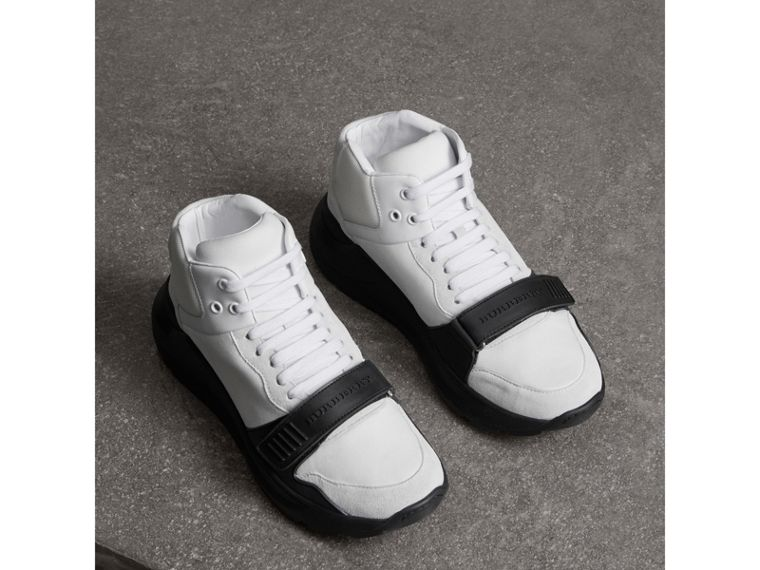Suede Trim Neoprene High-top Sneakers in Optic White/black | Burberry - cell image 4