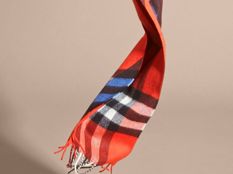 Check Cashmere Scarf with Stripe Print - cell image 2