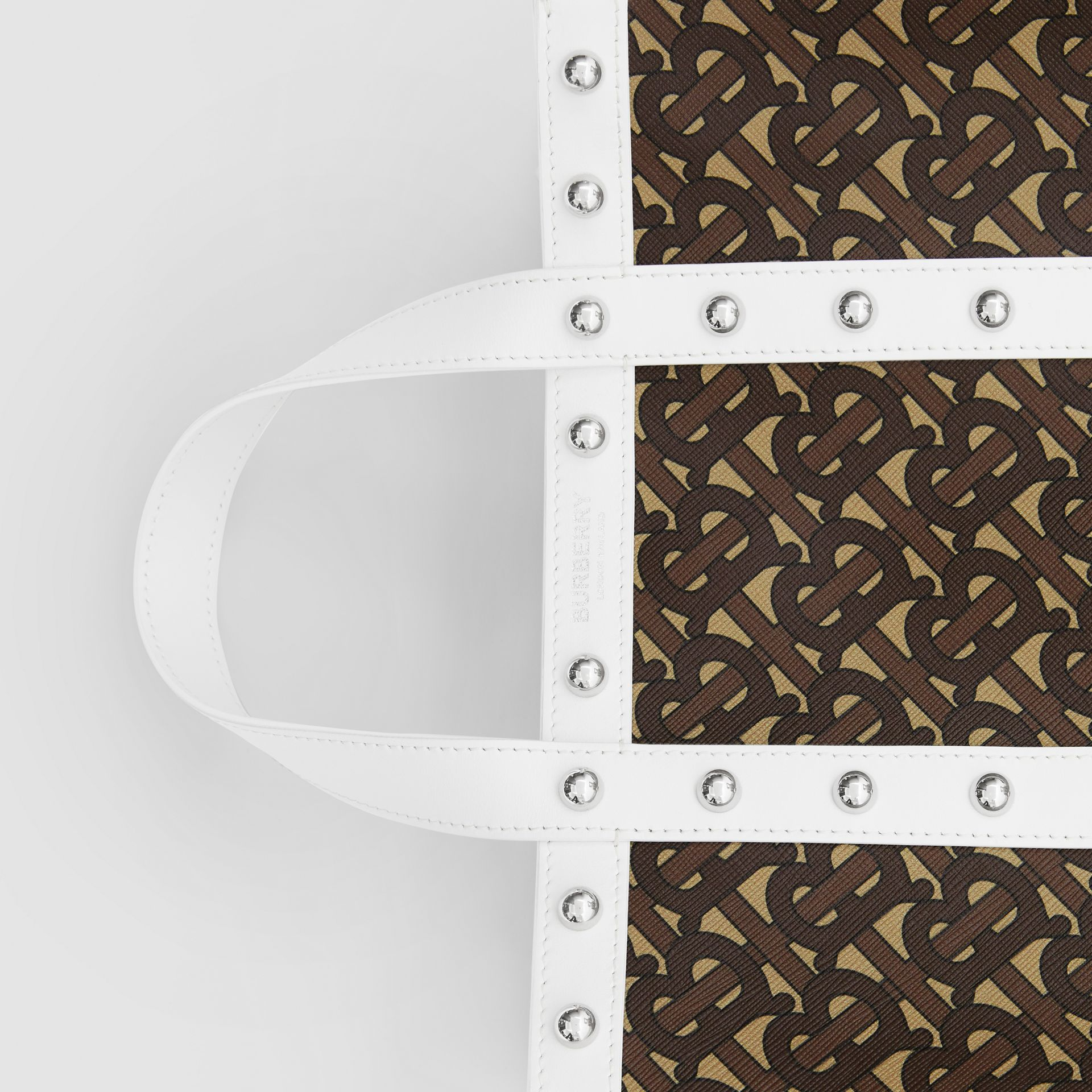 Small Monogram Print E-canvas Portrait Tote Bag in White - Women | Burberry Hong Kong S.A.R - gallery image 1