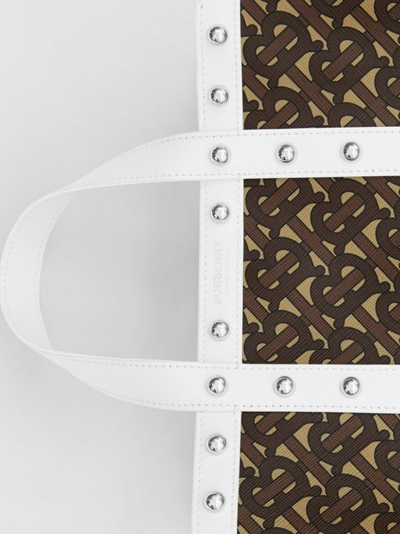 Small Monogram Print E-canvas Portrait Tote Bag in White - Women | Burberry Hong Kong S.A.R - cell image 1