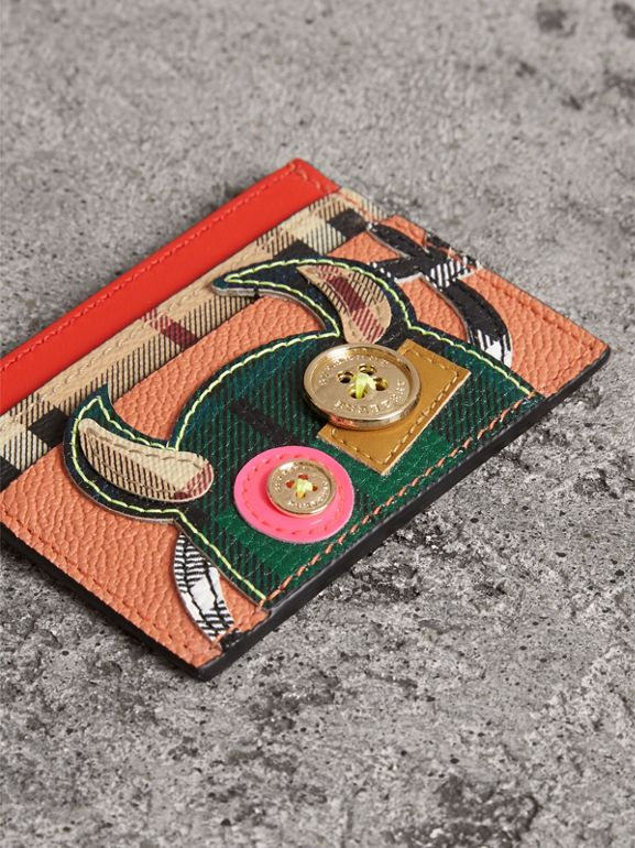 Creature Appliqué Leather Card Case in Pale Cameo Rose | Burberry - cell image 1