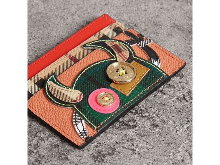 Creature Appliqué Leather Card Case in Pale Cameo Rose - Women | Burberry United States - cell image 1
