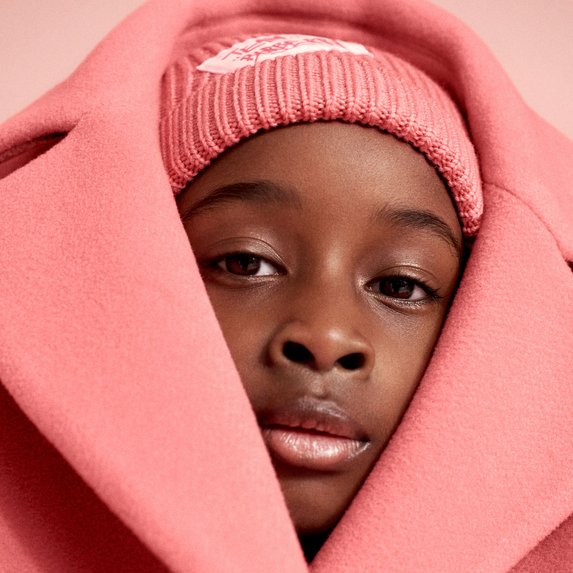 Patch Detail Merino Wool Beanie in Dusty Pink | Burberry United States - gallery image 1
