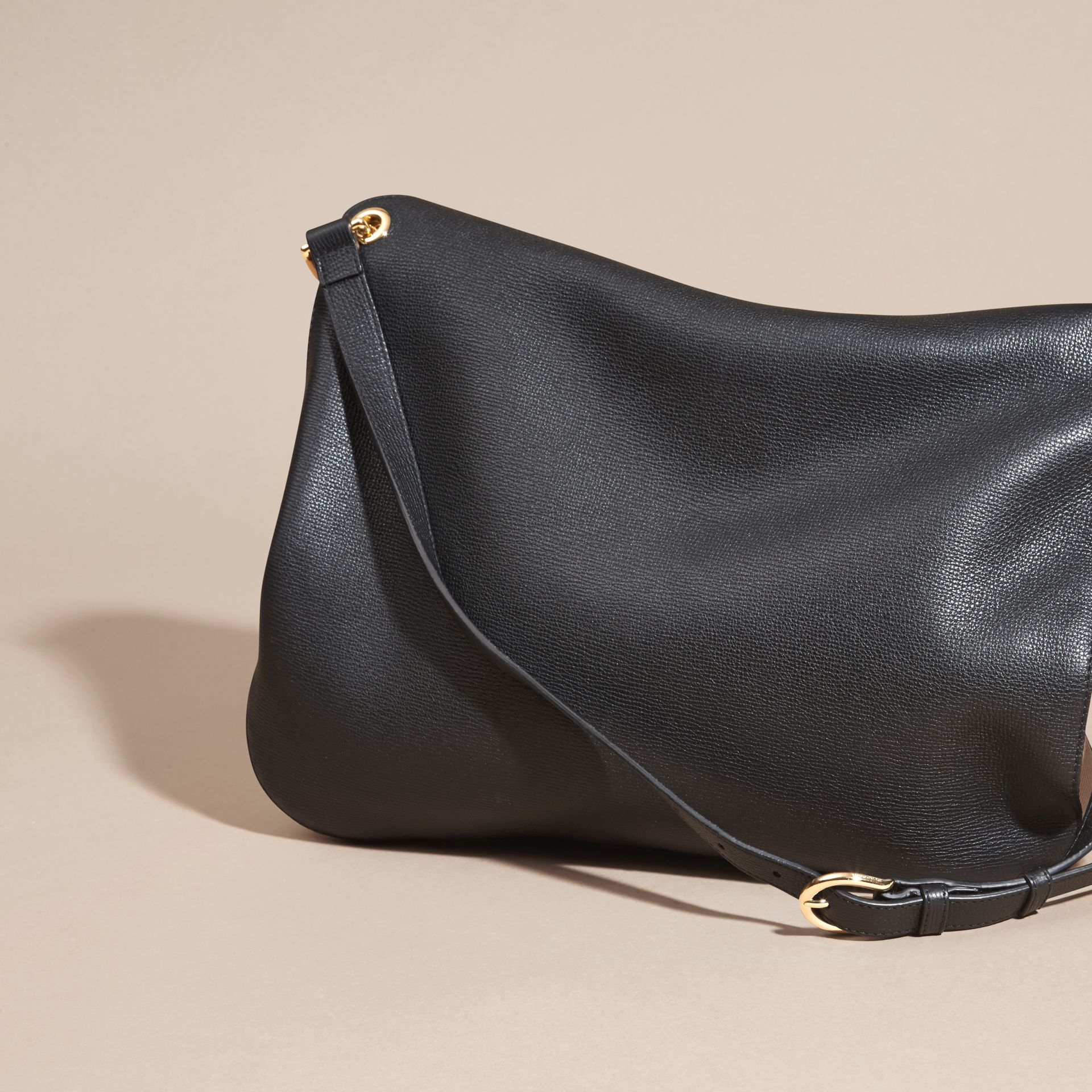 Black Grainy Leather and House Check Shoulder Bag Black - gallery image 4