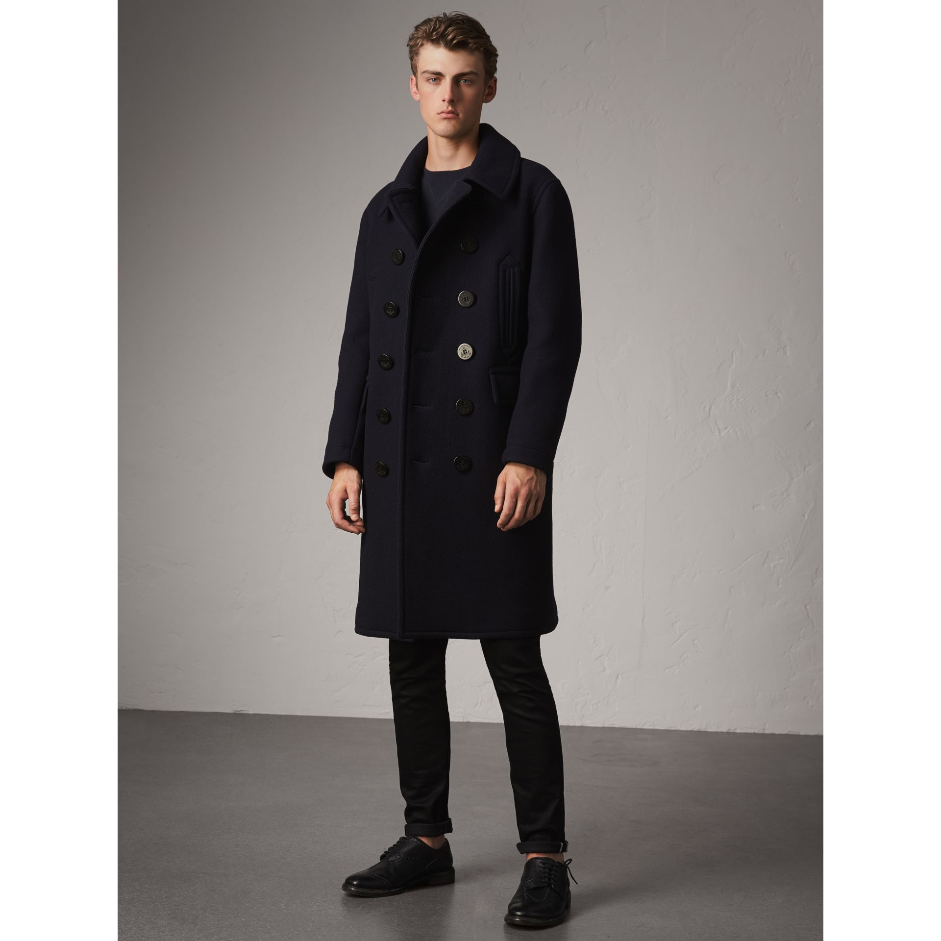 Wool Blend Double-breasted Coat in Navy - Men | Burberry Australia - gallery image 0