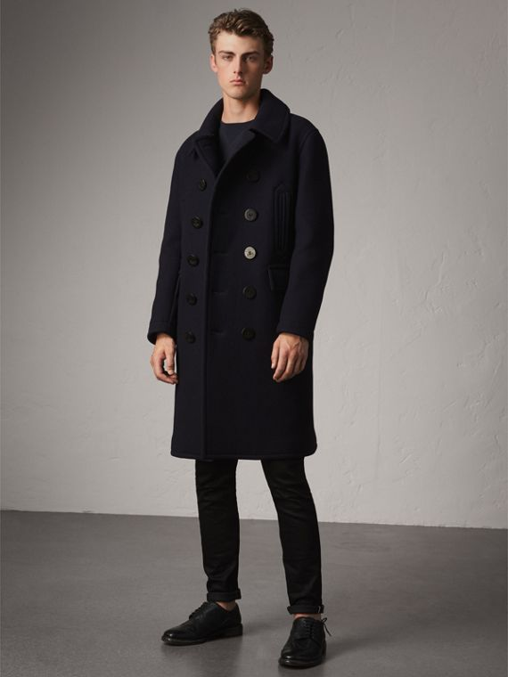 Wool Blend Double-breasted Coat in Navy