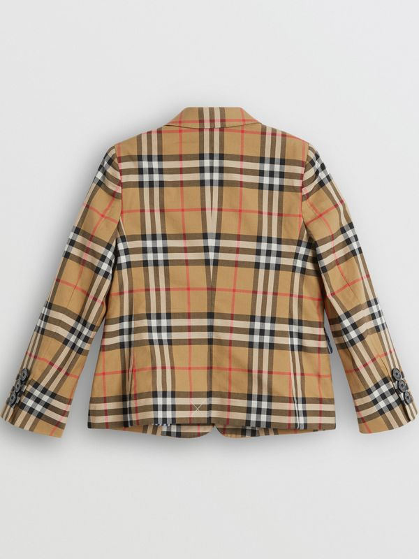 Vintage Check Cotton Blazer in Antique Yellow | Burberry United States - cell image 3