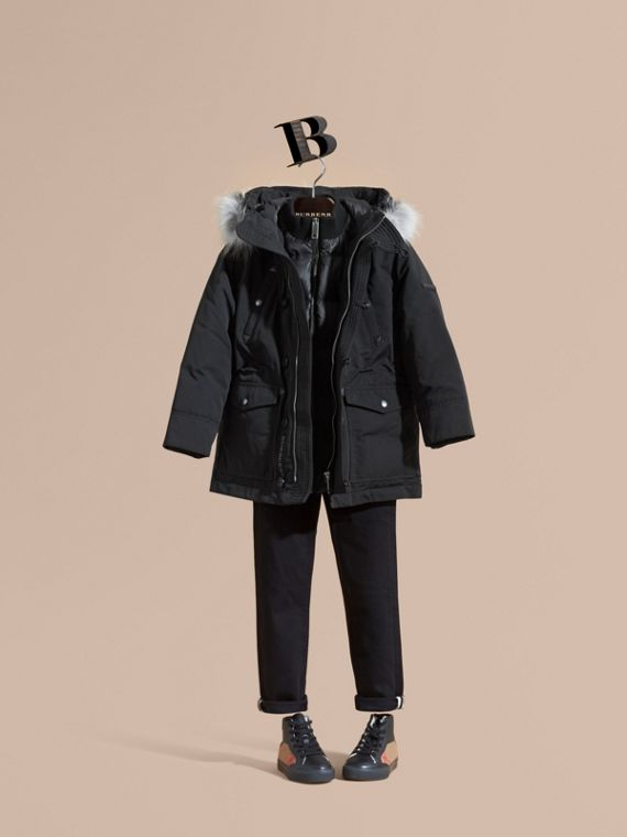 Fur-trimmed Down-filled Hooded Puffer Coat