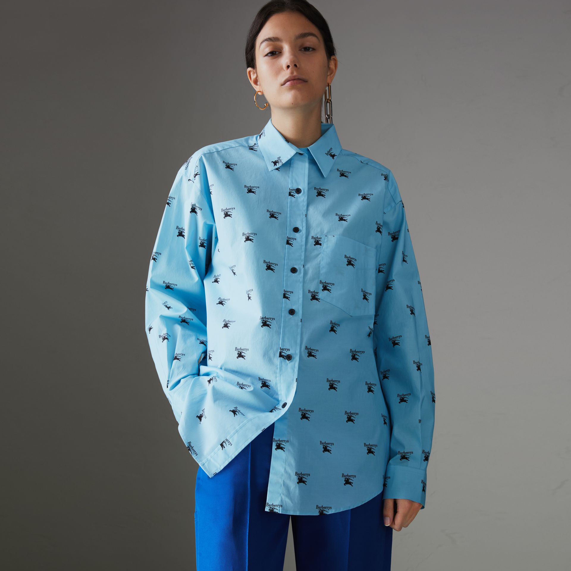 Logo Print Stretch Cotton Shirt in Sky Blue - Women | Burberry Singapore - gallery image 0