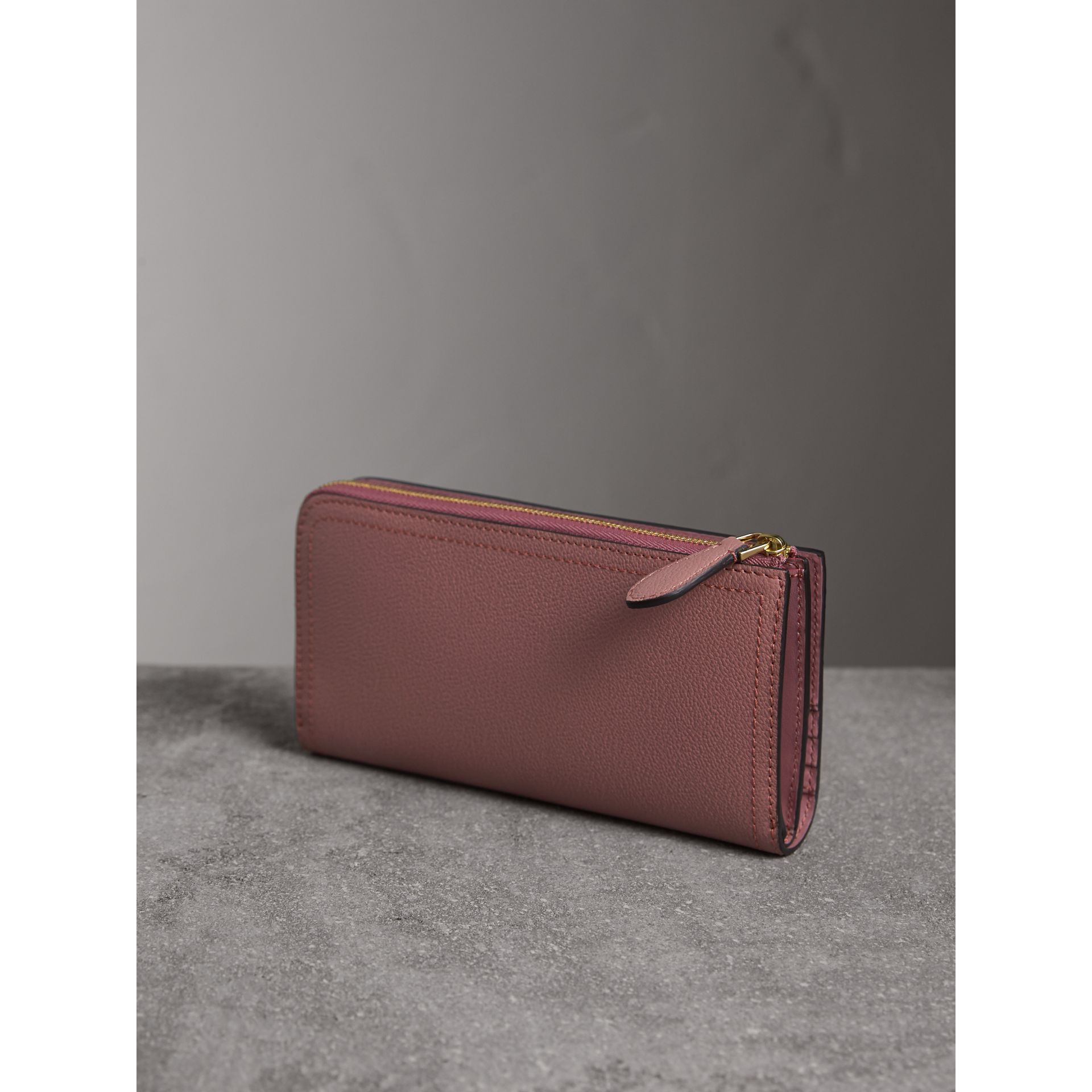 Grainy Leather Ziparound Wallet in Dusty Pink - gallery image 3