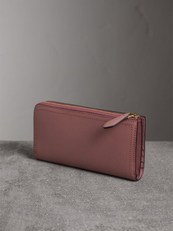 Grainy Leather Ziparound Wallet in Dusty Pink - cell image 2