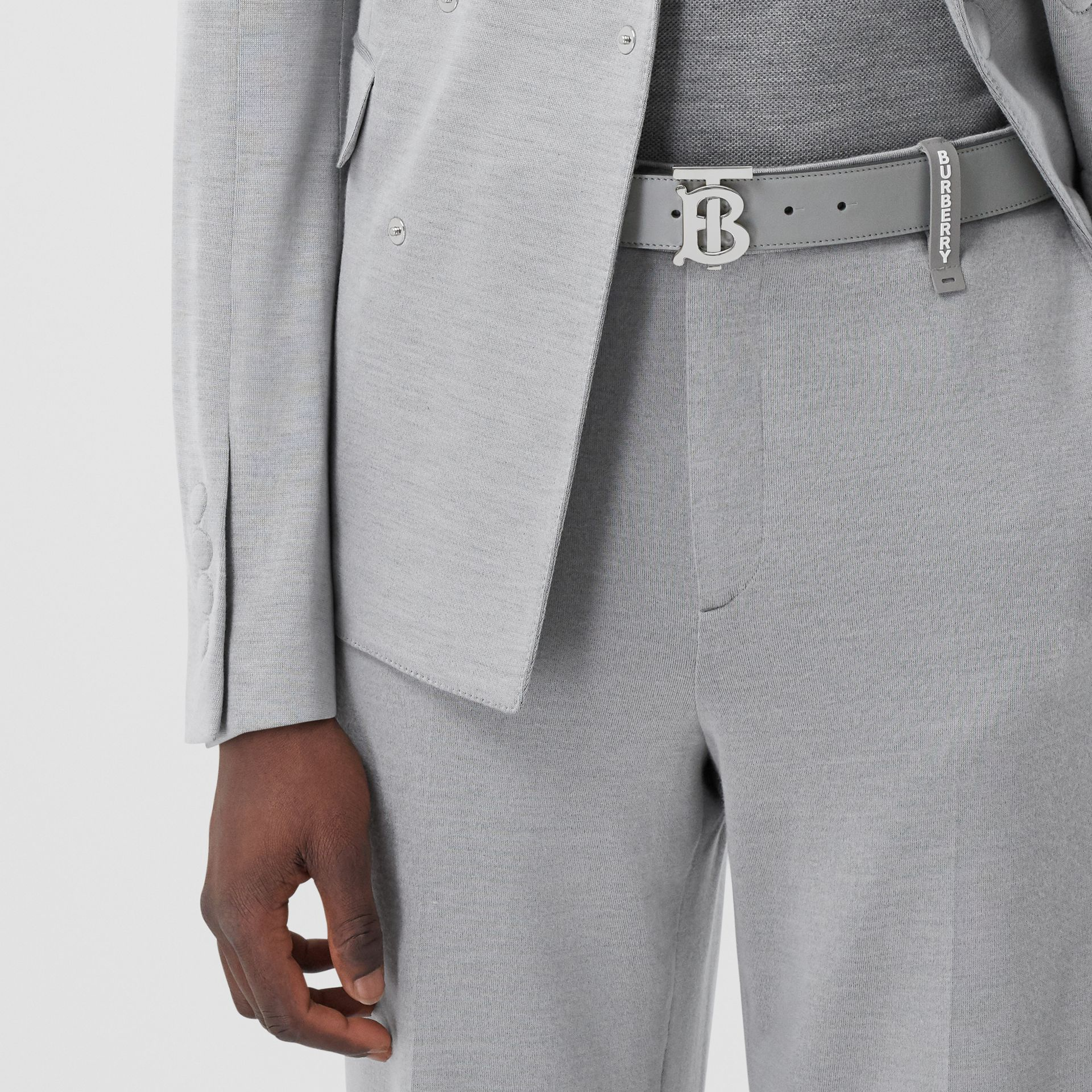 Monogram Motif Leather Belt in Cloud Grey - Men | Burberry - gallery image 2