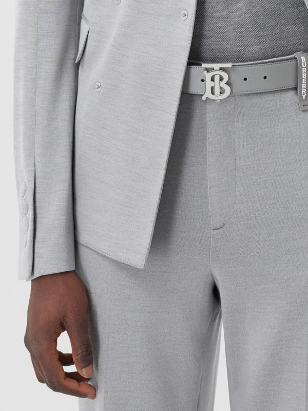 Monogram Motif Leather Belt in Cloud Grey - Men | Burberry - cell image 2