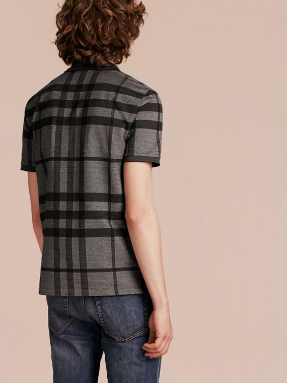 Mittelgrau Poloshirt aus Stretchbaumwolle mit Check-Muster Mittelgrau - cell image 2