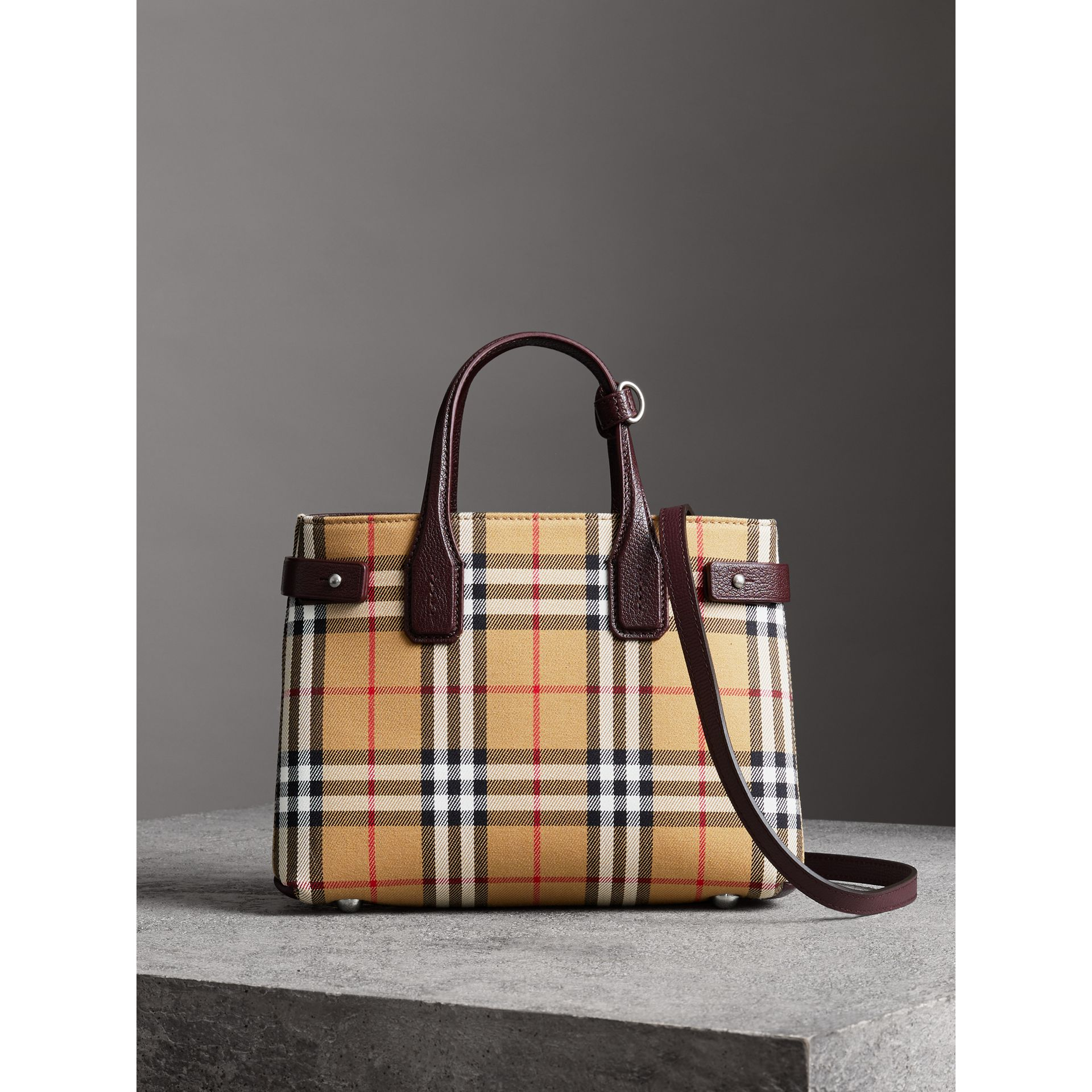 The Small Banner in Vintage Check and Leather in Deep Claret - Women | Burberry United Kingdom - gallery image 6