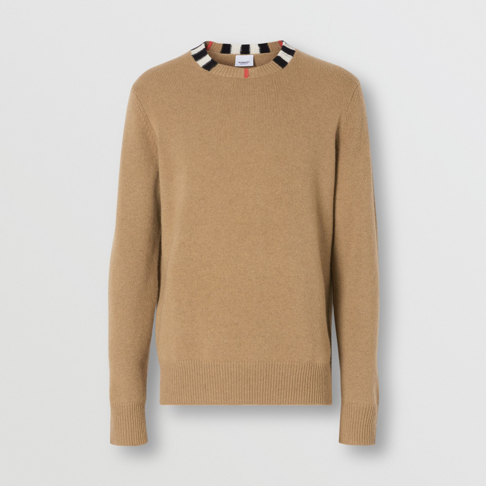 Icon Stripe Trim Cashmere Sweater in Camel - Men | Burberry - gallery image 3