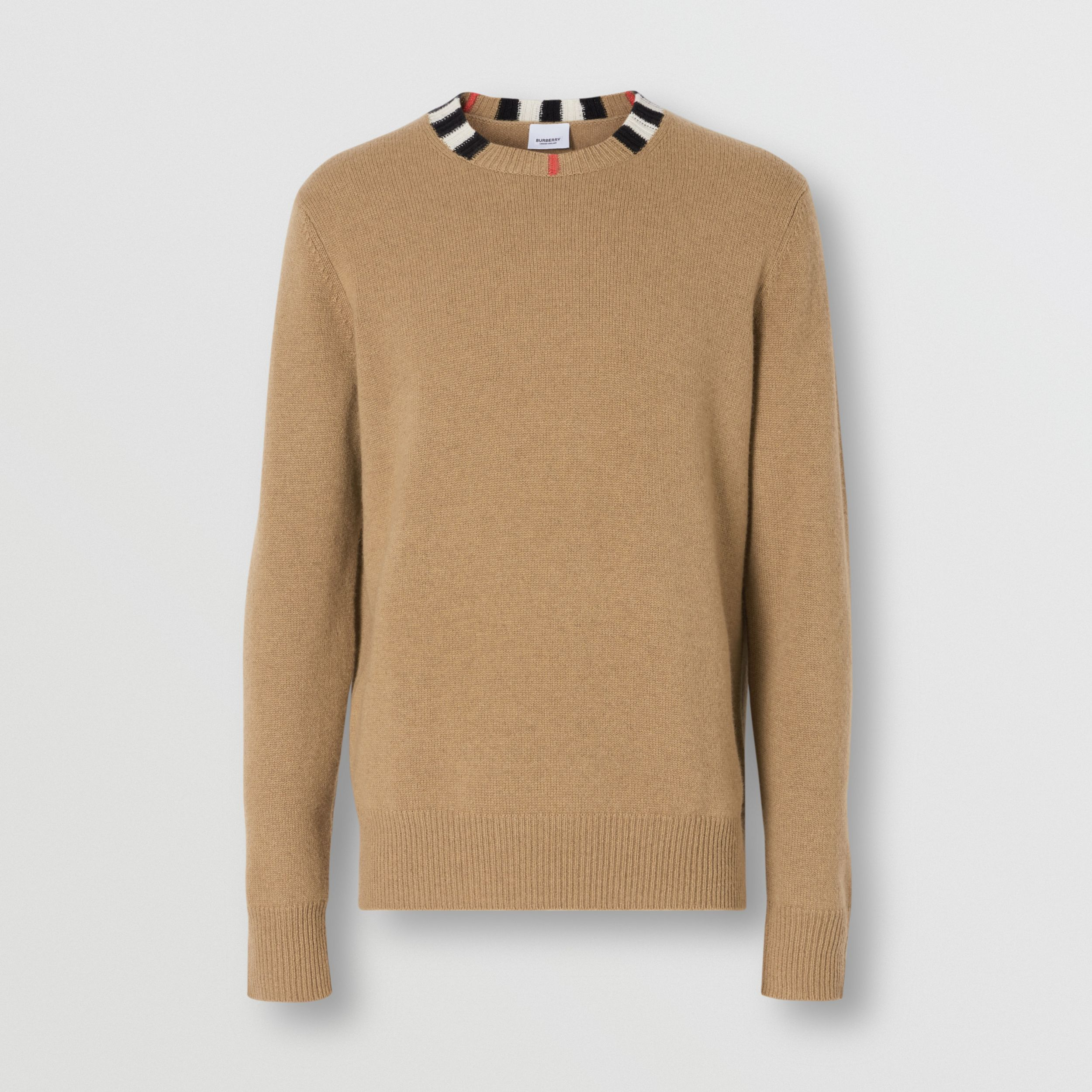 Icon Stripe Trim Cashmere Sweater in Camel - Men | Burberry - 4