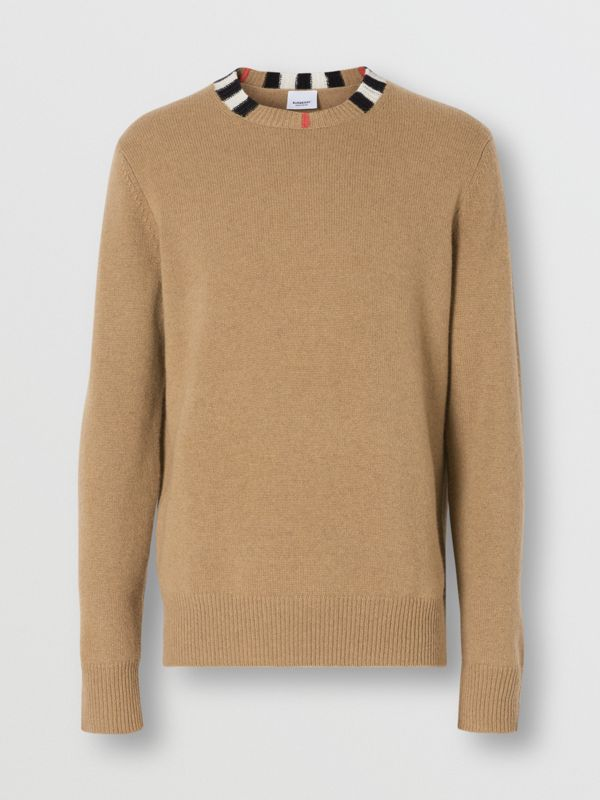 Icon Stripe Trim Cashmere Sweater in Camel - Men | Burberry - cell image 3