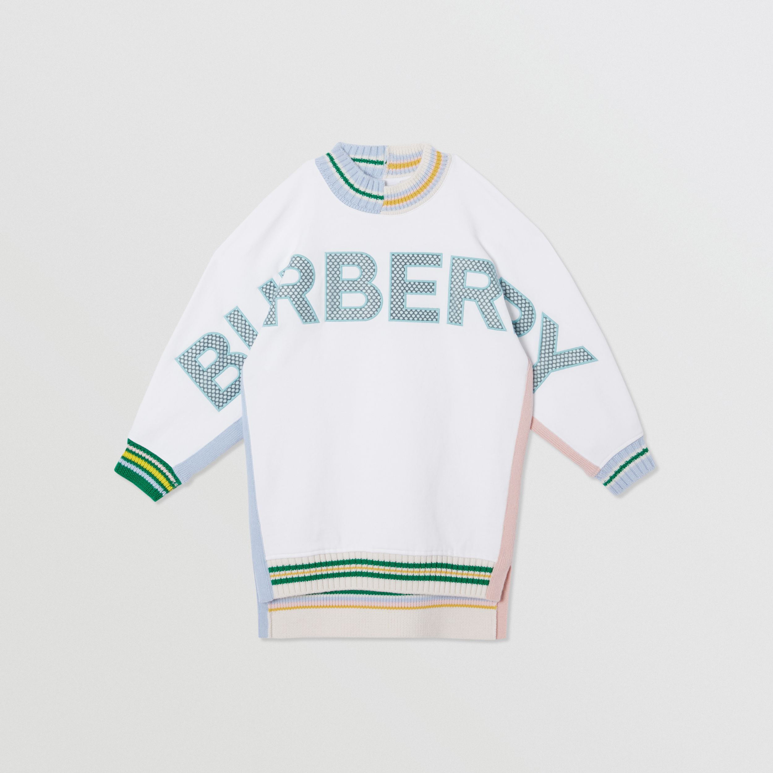 Mesh Logo Cotton Sweater Dress in White | Burberry - 1