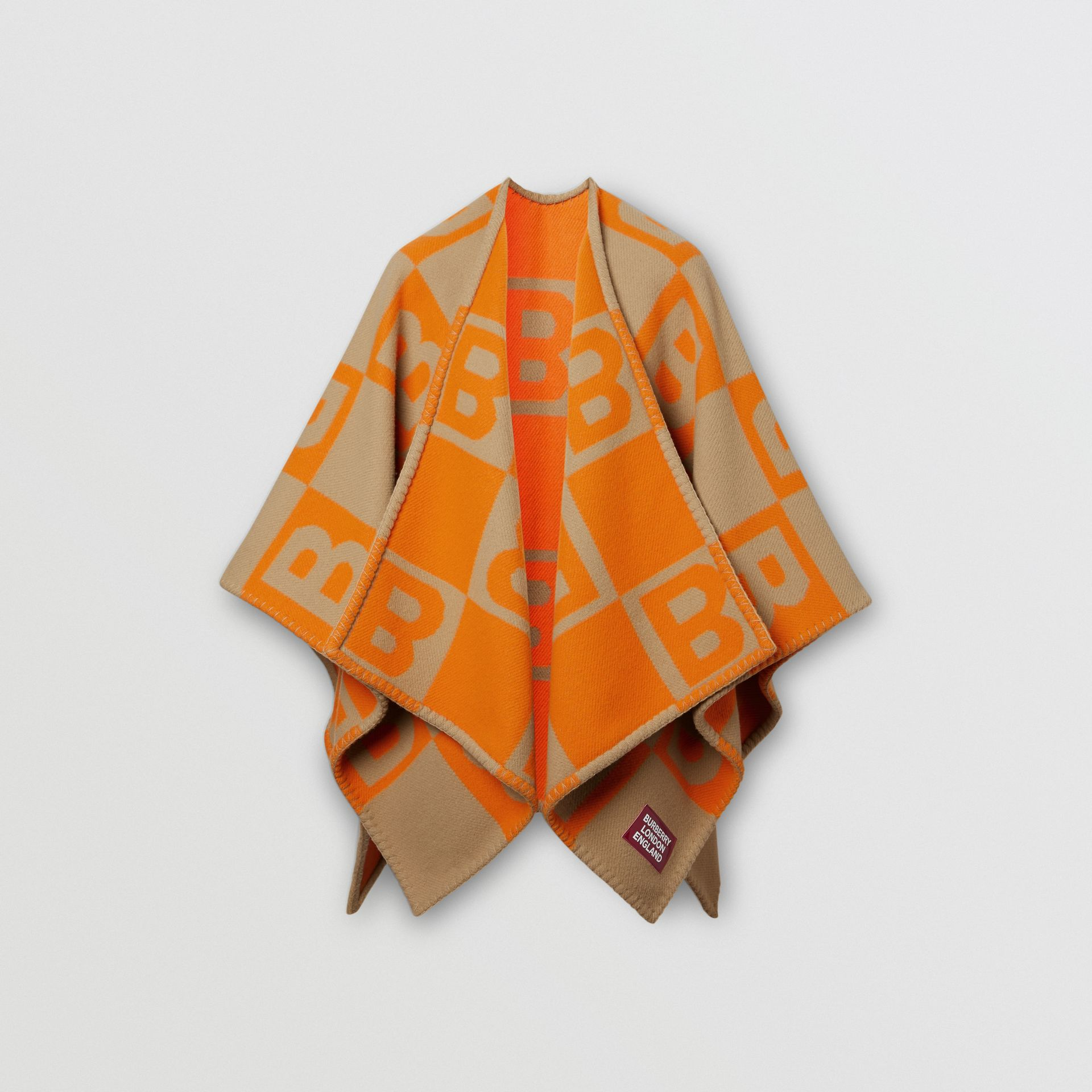 B Motif Merino Wool Cashmere Cape in Orange - Women | Burberry - gallery image 3