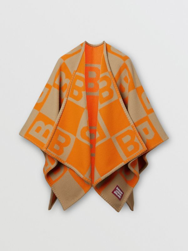 B Motif Merino Wool Cashmere Cape in Orange - Women | Burberry - cell image 3