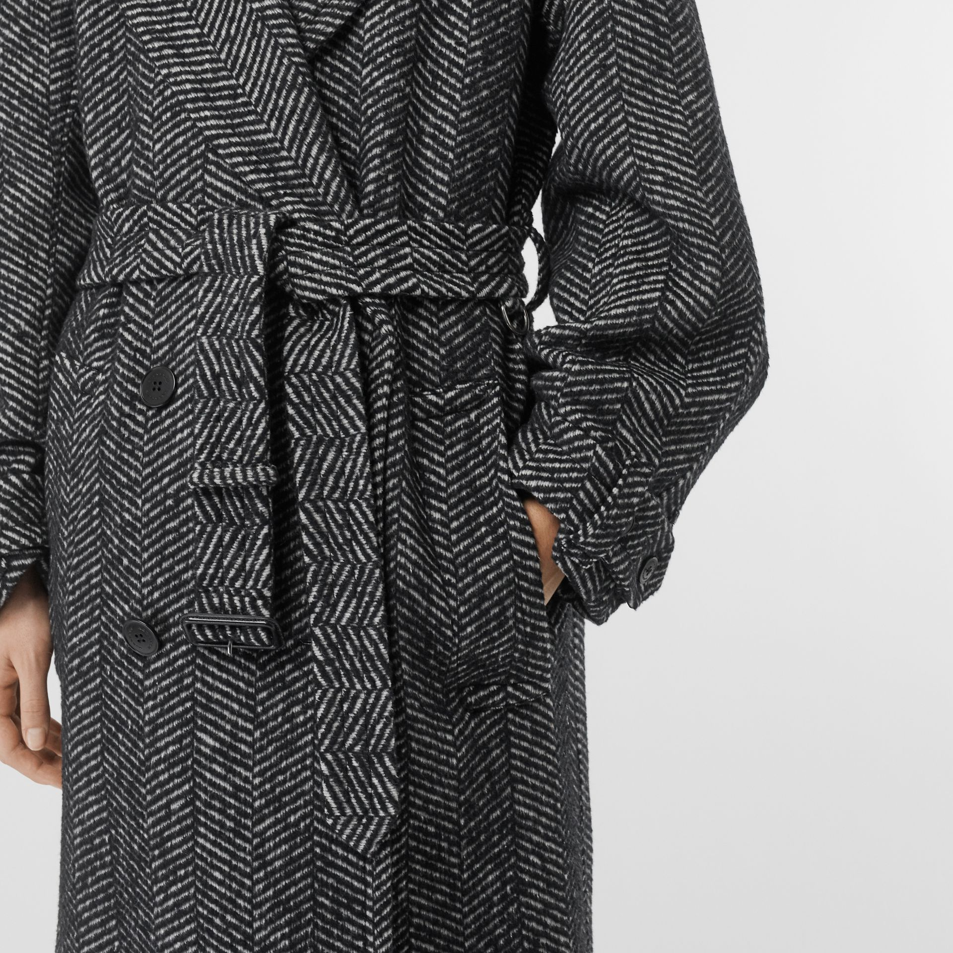 Herringbone Wool Silk Blend Double-breasted Coat in Black - Women | Burberry - gallery image 4