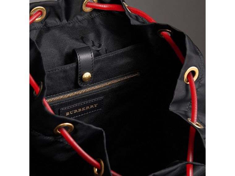 The Large Rucksack in Nylon and Riveted Leather in Black | Burberry Singapore - cell image 4