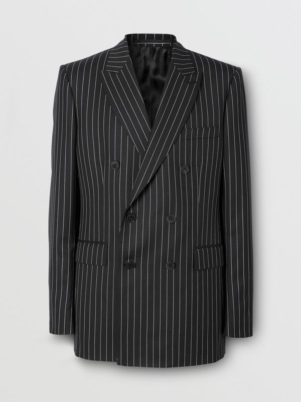 English Fit Pinstriped Wool Suit in Black - Men | Burberry United Kingdom - cell image 3