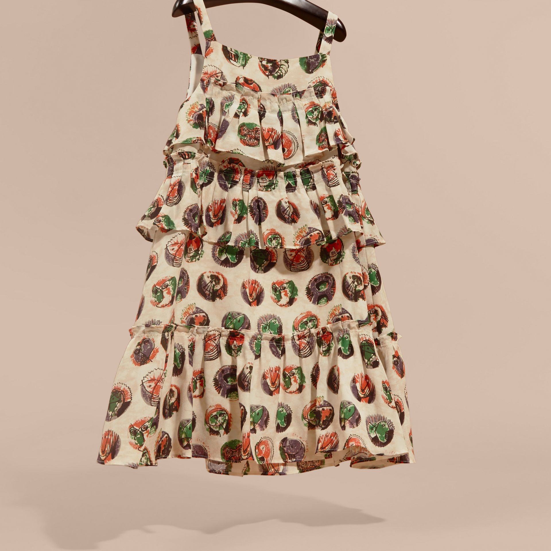 Pallas Heads Print Silk Dress with Ruffles - gallery image 3
