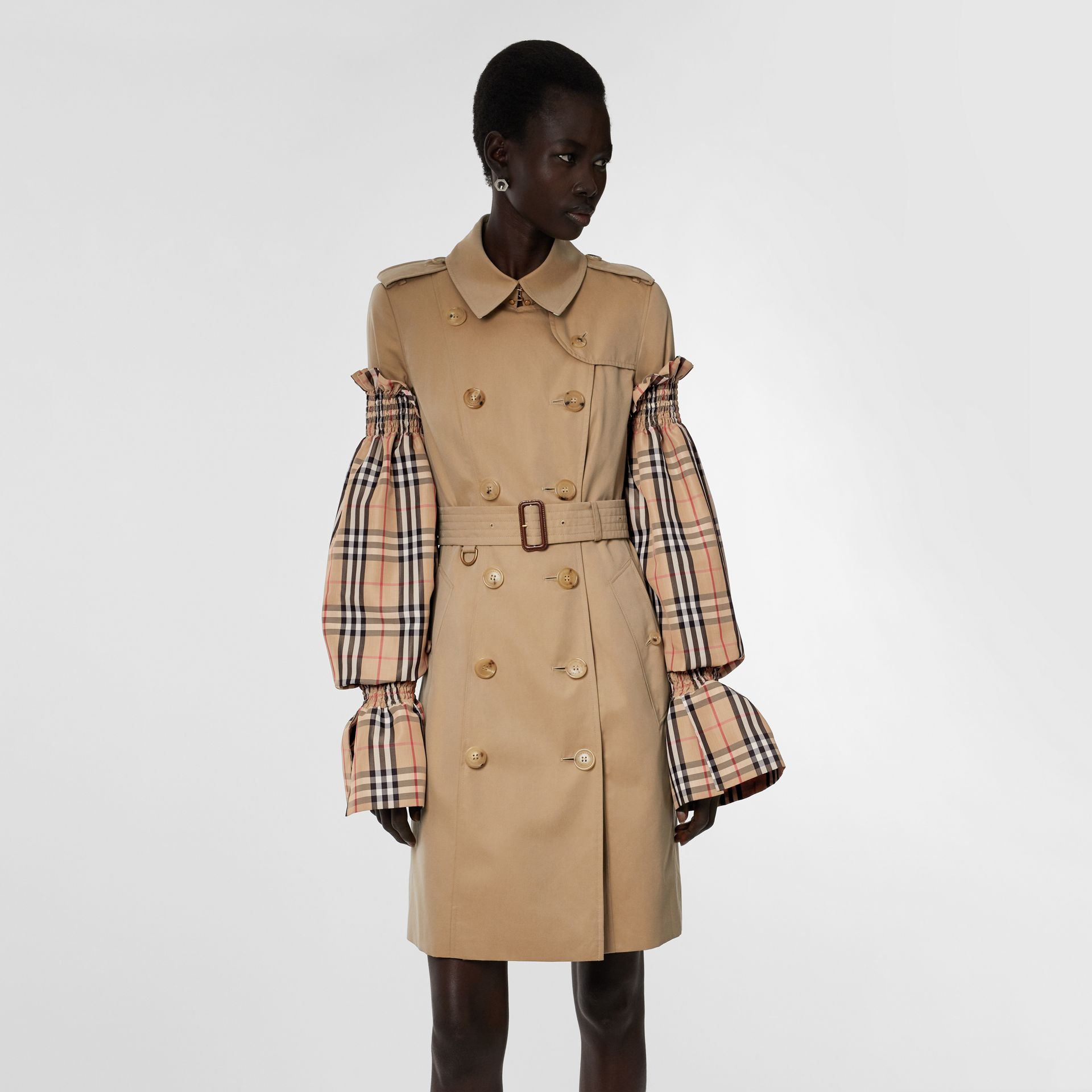 Vintage Check Puff Sleeves in Archive Beige - Women | Burberry Australia - gallery image 6